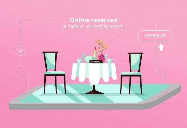 Tabela reservada em linha no café. conceito reservado no restaurante. mesa de restaurante plana no smartphone Vetor Premium