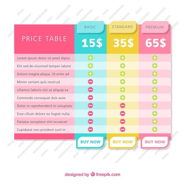 Tabelas de preços coloridas Vetor grátis