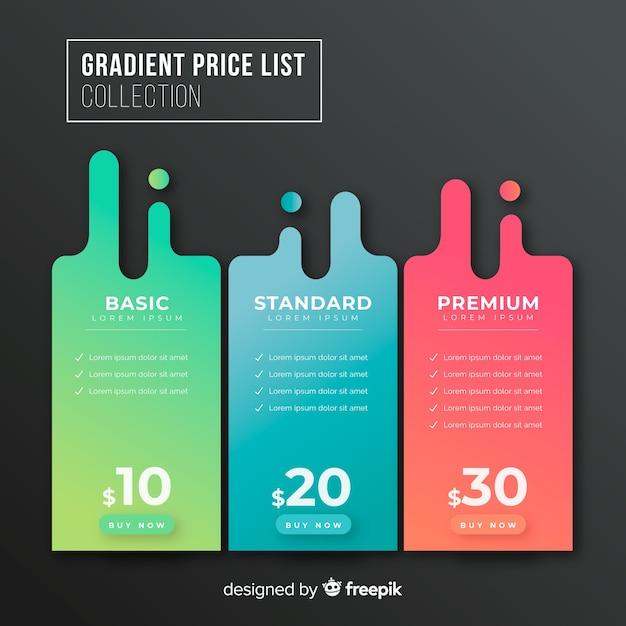 Tabelas de preços Vetor Premium