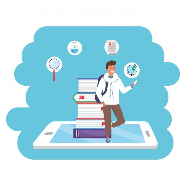 Tablet de estudante milenar de educação on-line Vetor Premium