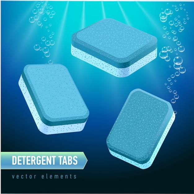 Tablet detergente para lava-louças de diferentes ângulos. abas azuis e brancas do sabão no fundo profundo da água azul. bolhas de água realista. Vetor Premium