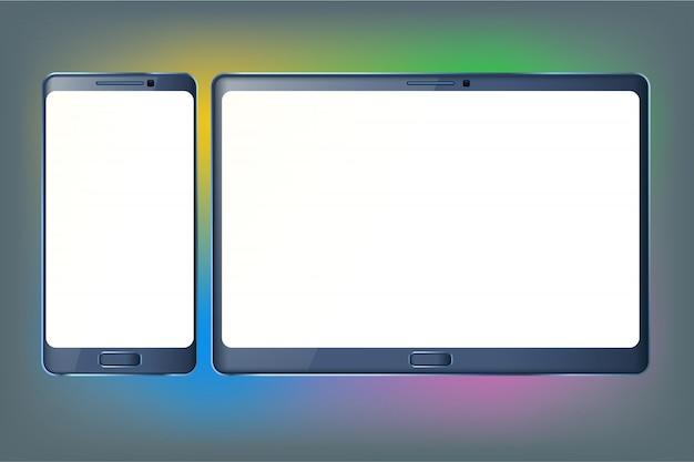 Tablet e telefone Vetor Premium