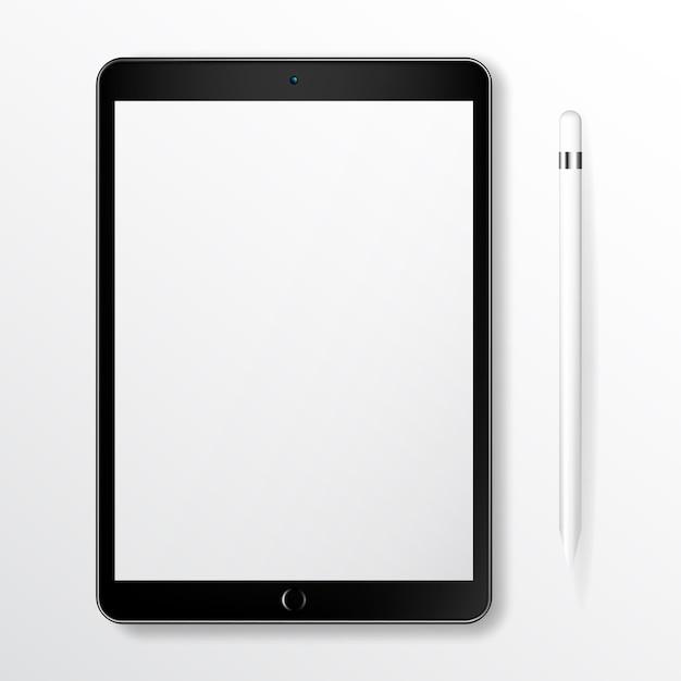 Tablet realistico mock up com lápis inteligente Vetor Premium