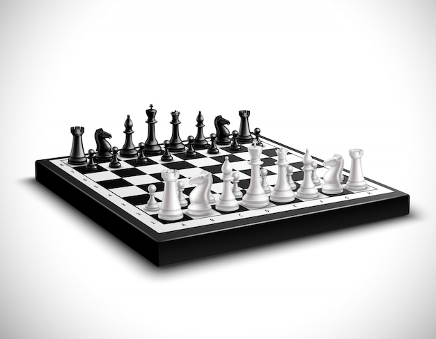 Tabuleiro de xadrez realista com conjunto de figuras em preto e branco 3d Vetor grátis