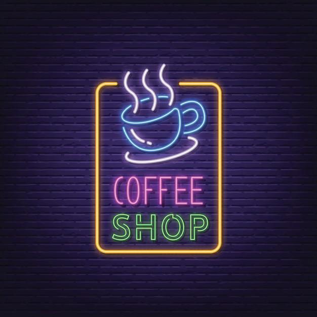 Tabuleta de néon de café Vetor Premium