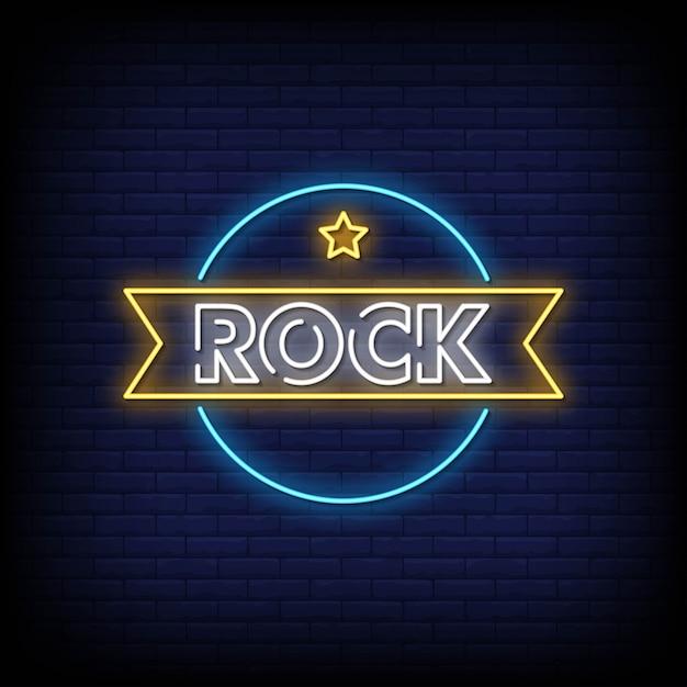 Tabuleta de néon rock Vetor Premium