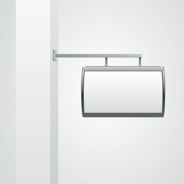 Tabuleta em branco pendurado na parede ilustração Vetor Premium