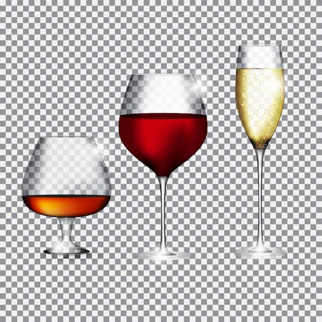 Taça de champanhe, conhaque e vinho na transparente Vetor Premium