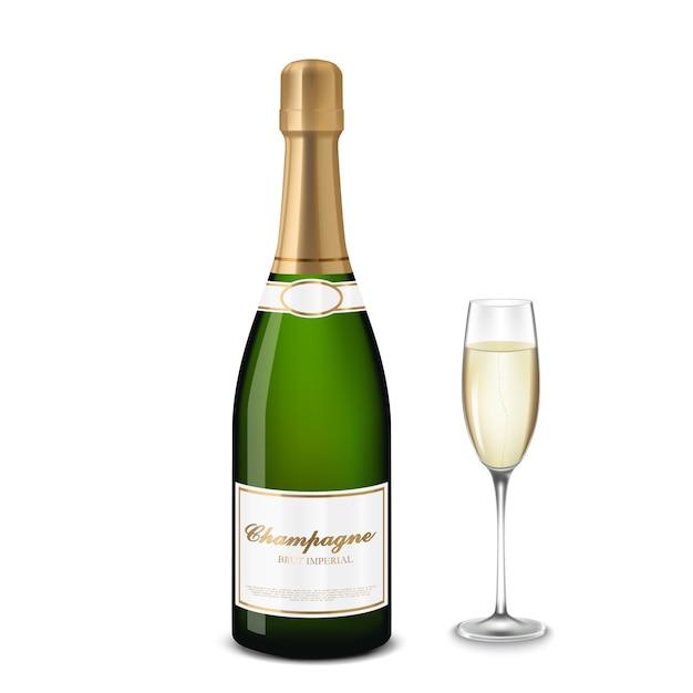 Taça de champanhe e garrafa Vetor Premium