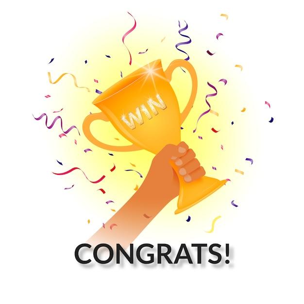 Taça de prêmios em uma mão. ganhar! parabéns! Vetor Premium
