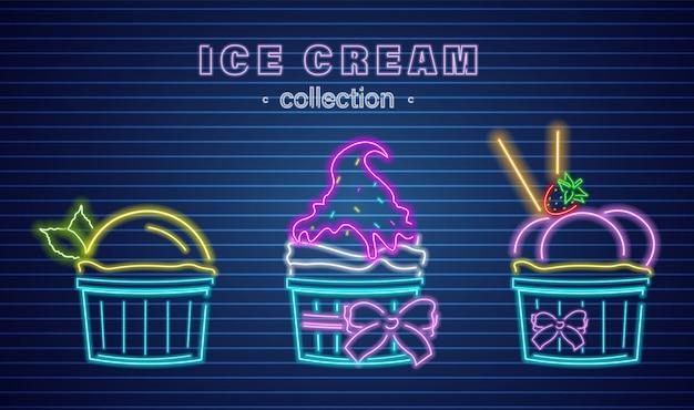 Taças de sorvete néon Vetor Premium