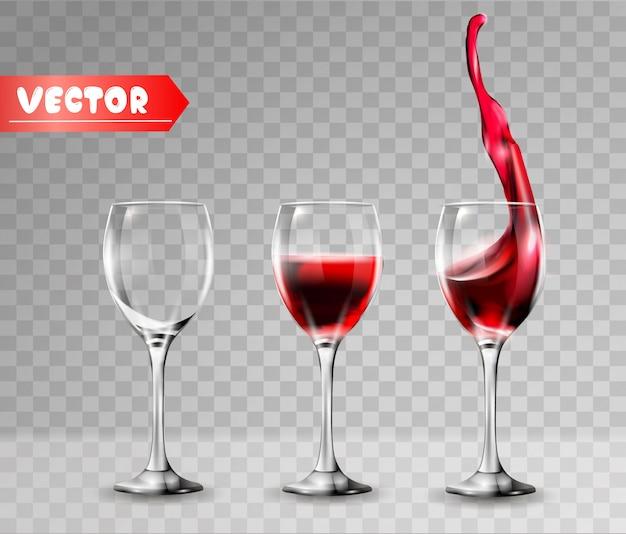Taças de vinho vazias e cheias. Vetor Premium