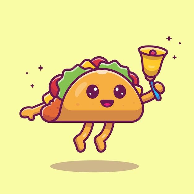 Taco mascote dos desenhos animados ilustração. personagem de garoto taco bonito com sino. conceito de comida isolado Vetor Premium
