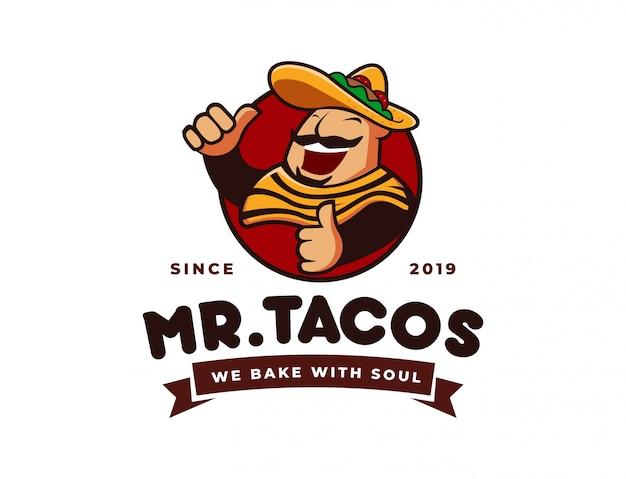 Tacos de chapéu sombrero, logotipo da mascote de restaurante mexicano Vetor Premium