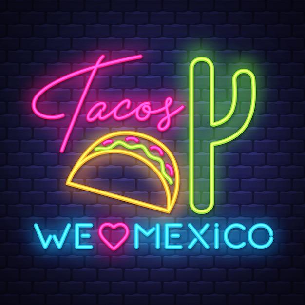 Tacos, néon, sinal Vetor Premium