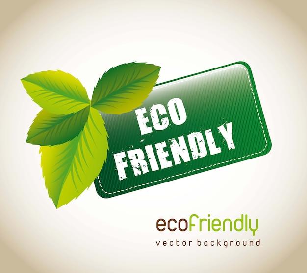 Tag amigável do eco com as folhas sobre o fundo marrom. ilustração vetorial Vetor Premium