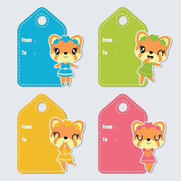 Tag coloridos bonitos do presente de aniversário dos desenhos animados da raposa da menina Vetor Premium