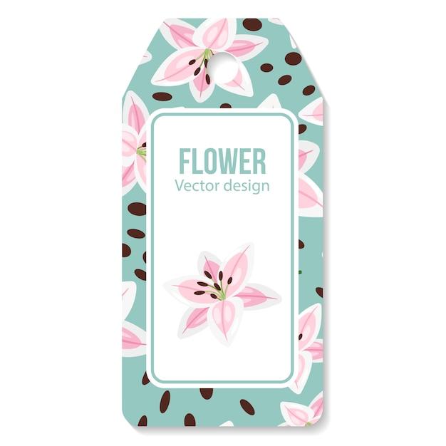 Tag com flor de lírios rosa Vetor Premium