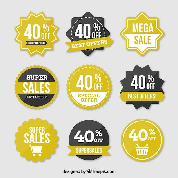 Tag da venda com venda de 40 por cento texto Vetor grátis