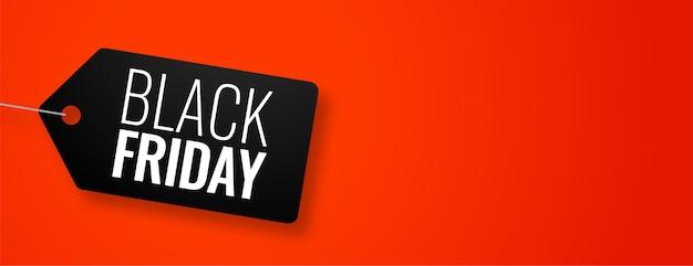Tag de sexta-feira preta em banner vermelho com espaço de texto Vetor grátis
