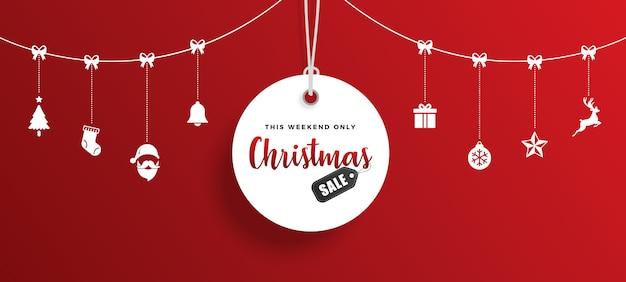 Tag de venda de natal com elementos Vetor Premium