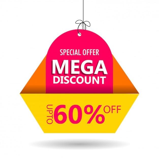 Tag de venda de publicidade ou etiqueta com oferta de desconto de 60% em branco b Vetor Premium