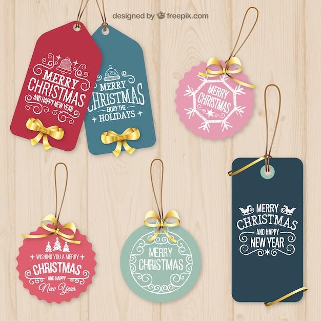 Tag do natal ornamentais Vetor Premium