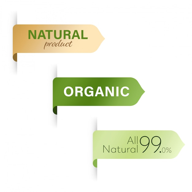 Tag orgânico e design de banner de rótulo verde natural Vetor Premium