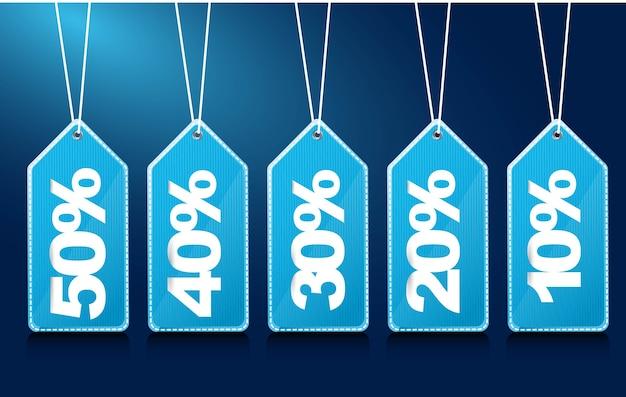 Tags azuis com números Vetor Premium
