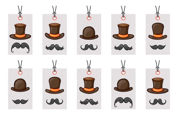 Tags de aniversário para itens de carnaval. Vetor Premium