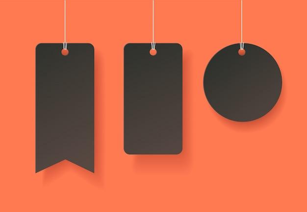 Tags de estilo de arte em papel no halloween Vetor Premium