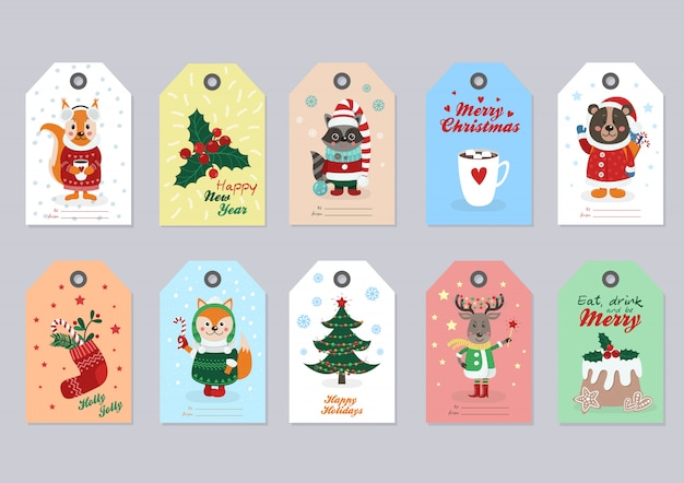 Tags de natal com animais da floresta Vetor Premium