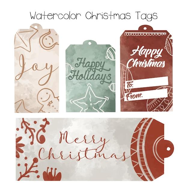 Tags de natal em aquarela - coleção de mão desenhada Vetor Premium