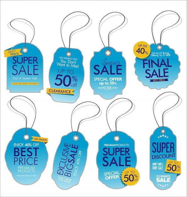 Tags de venda de estilo vintage Vetor Premium