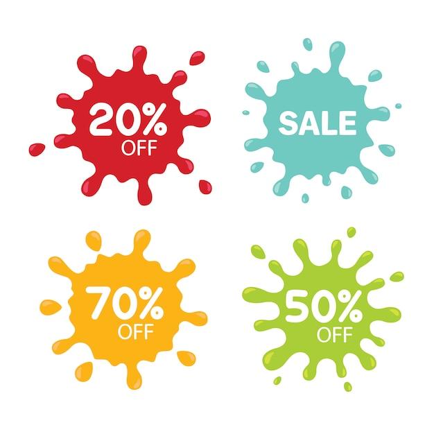 Tags de venda diferentes isoladas no branco. conceito de borrão Vetor Premium