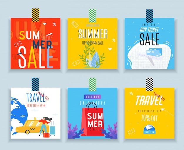 Tags de vendas decorativas para compras e conjunto de viagem Vetor Premium