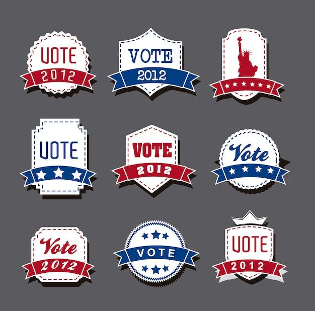 Tags de voto de eleição de estados unidos sobre o vetor de fundo cinza Vetor Premium