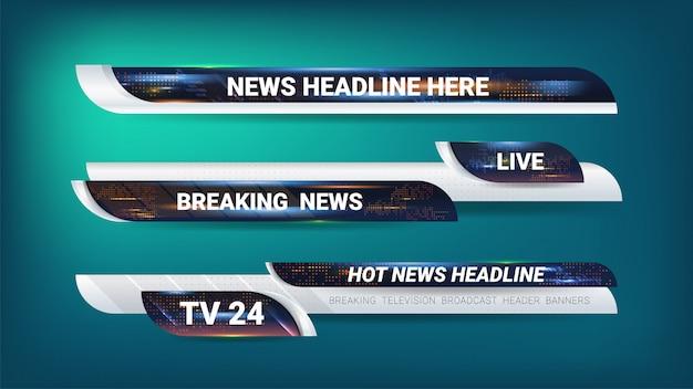 Tags e banner para transmissão de notícias Vetor Premium