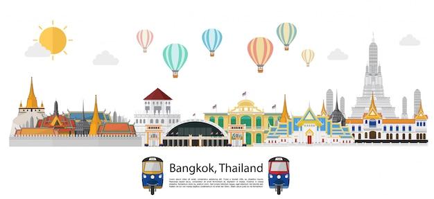 Tailândia e marcos e fundo de viagens Vetor Premium