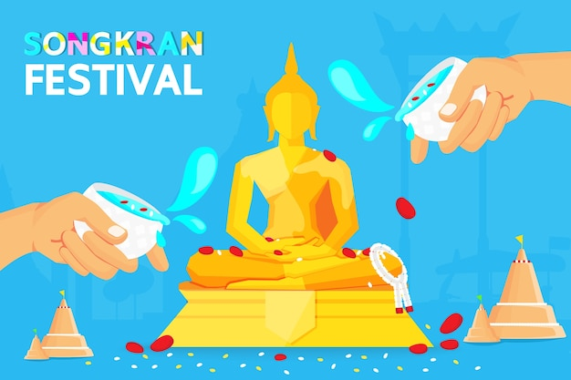 Tailândia songkran festival Vetor Premium