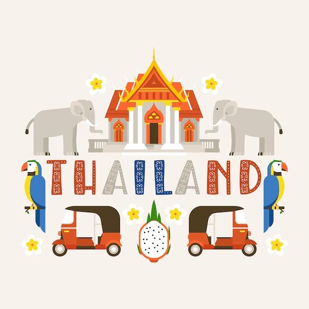 Tailândia tradições, cultura do país. memoriais antigos, edifícios, natureza e animais como elefante, pássaro papagaio. Vetor Premium