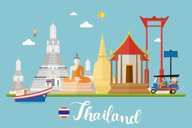 Tailândia viagens paisagens ilustração vetorial Vetor Premium