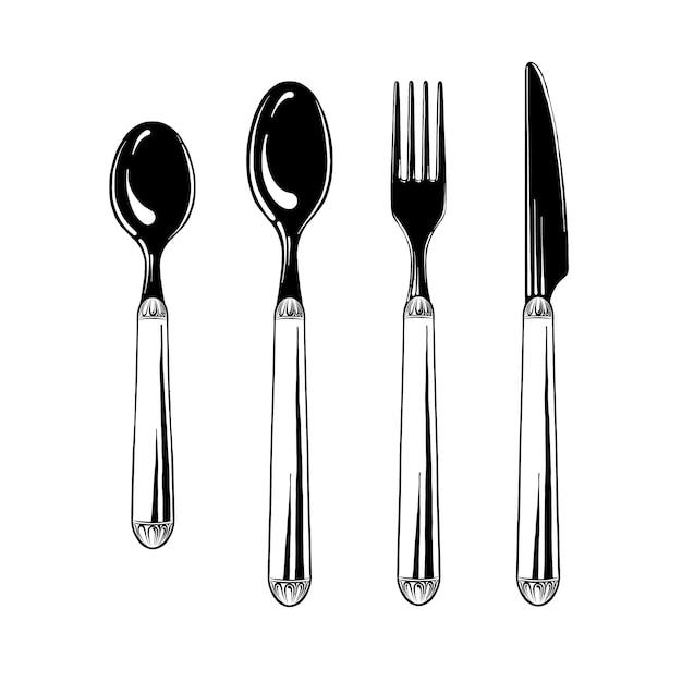 Talheres conjunto colher de chá, colher, garfo e faca em preto isolado. utensílios de mesa, vista superior. ilustração vetorial Vetor Premium