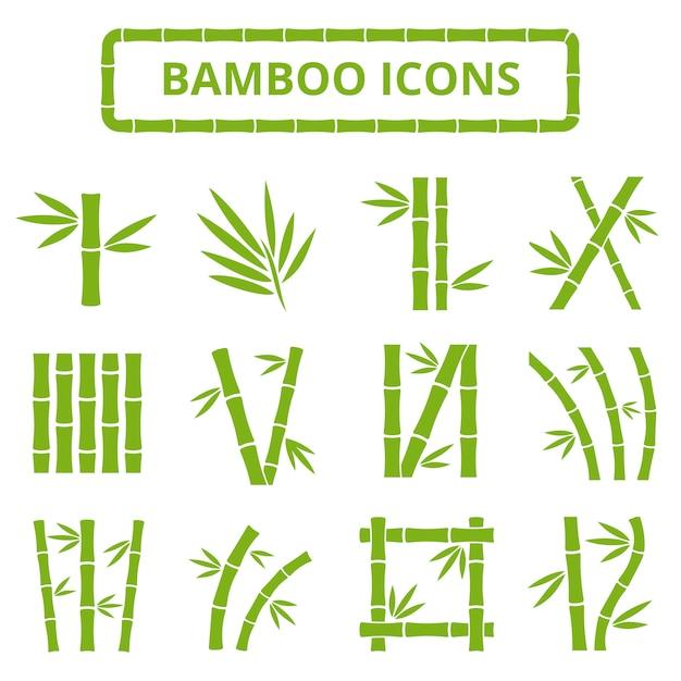 Talos de bambu e folhas icons vector. Vetor Premium