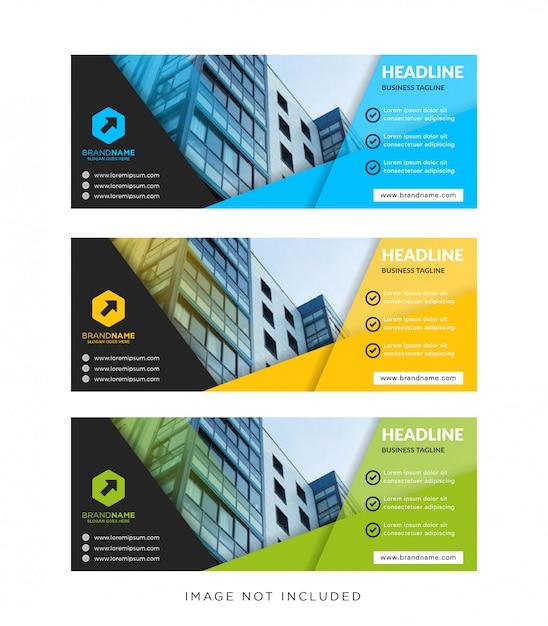 Tamanho padrão do banner da web de modelo com um local para imagem ou foto Vetor Premium