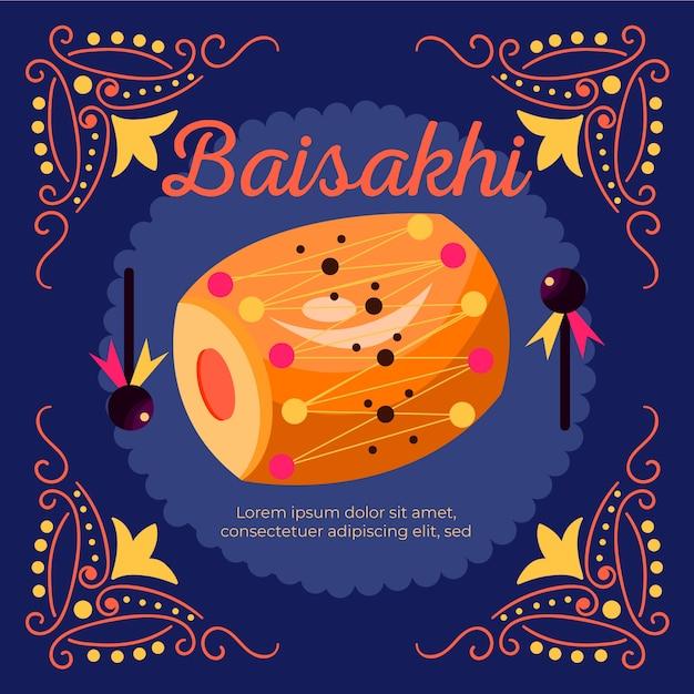 Tambor baisakhi tradicional de design plano Vetor grátis