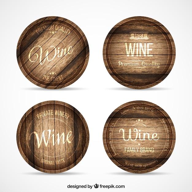 Tambores de vinho Vetor Premium