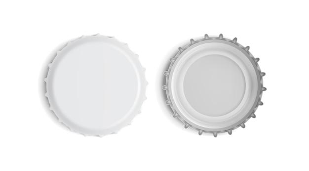 Tampa de garrafa branca vista superior e inferior isolada Vetor Premium