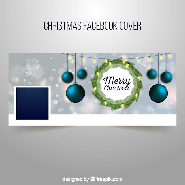 Tampa do Facebook com uma coroa de Natal e baubles Vetor grátis dc36410fcf8ce
