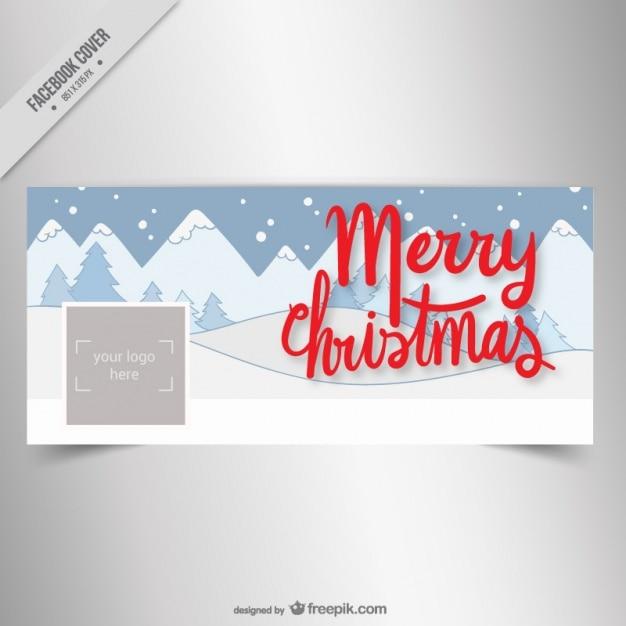 tampa do facebook de Natal com paisagem de neve Vetor grátis 18115cb57becd